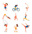 set sport people character with different vector image