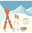 Ski winter mountain landscape background vector image vector image