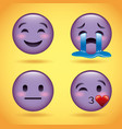 smiley set purple face with emotions facial vector image vector image