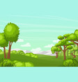 tree and hill landscape green pastures mountains vector image