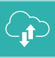 upload download icon with cloud and arrow vector image vector image