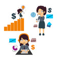 very busy business woman character set vector image vector image