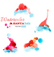 Watercolor Santa hats isolated on white background vector image vector image