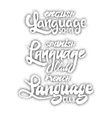 Language club Badges and labels dotworking vector image