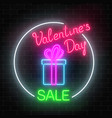 neon valentines day sale glowing sign in circle vector image