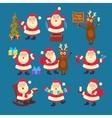 Santa and Deer Collection Christmas vector image