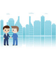 2 businessman shaking hands on silhouette vector image