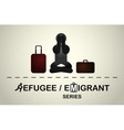 A refugee who is sitting frustrated vector image vector image