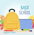 autumn leaves school backpack supplies and sign vector image vector image