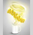 banana yoghurtdrink in a cup realistic vector image vector image