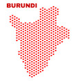 burundi map - mosaic of lovely hearts vector image vector image