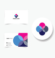 business card with four color and pink vector image
