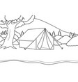 camping on a tent at river side with mountain vector image vector image