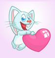 cartoon cute bunny rabbit holding a love heart vector image vector image