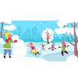 cartoon winter kids child kid snowy vector image vector image