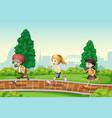 children running in park vector image vector image