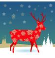 christmas deer in snow vector image vector image