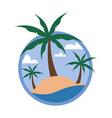 circular palm trees beach tropical island travel vector image vector image
