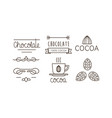 cocoa and chocolate line icons set logo label vector image