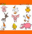 cute cartoon farm animal characters set vector image