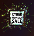 Cyber Monday discount fireworks vector image