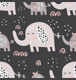 dark elephants family pattern vector image vector image