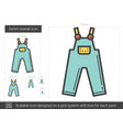 denim overall line icon vector image vector image