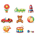 Different kinds of toys for children vector image