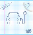 electric car and electrical cable plug charging vector image vector image