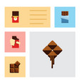 flat icon bitter set of bitter chocolate bar vector image vector image