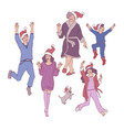 flat sketch family characters santa hat vector image