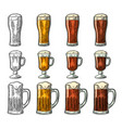 glass with three types beer vintage black and vector image vector image