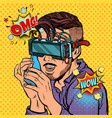 hipster man in virtual reality glasses talking on vector image vector image