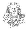 horseshoe with playing cardsdiceshamrock clover vector image