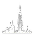isolated dubai cityscape vector image