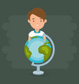 little boy with world planet vector image