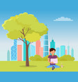 man sitting under tree and reading book in park vector image vector image