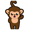 monkey kawaii cartoon vector image vector image