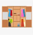 outdoor wardrobe with dresses and boxes vector image