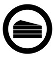 piece of cake black icon in circle isolated vector image
