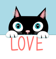 Portrait of a cat with the word love vector image vector image