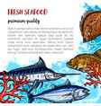 poster of fresh seafood and fish food vector image vector image