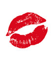 print of red lips on a white vector image vector image