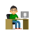 Programmer on Desktop Computer Coding and vector image vector image