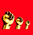 raised fists in air on red background vector image