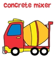 Red concrete mixer cartoon vector image