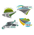road travel company icons set tourism trip vector image vector image