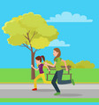running mom and doughter color vector image vector image