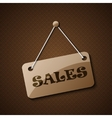 Sales hanging sign or for your text on an abstract vector image