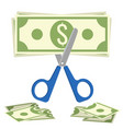 scissors cuts budget process of cutting dollar vector image vector image